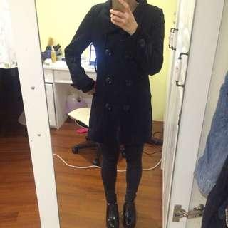 AIR SPACE黑色合身風衣外套