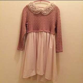 日本 品牌 Lowry Farm 莓粉色高腰紗裙洋裝