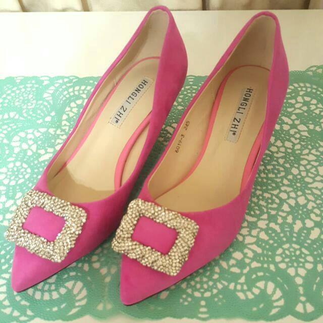 全新粉色閃亮高跟鞋$1200