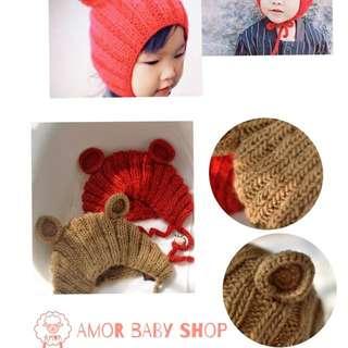 Amor baby shop 手工編織 可愛熊耳朵 嬰兒 兒童 寶寶 編織毛帽