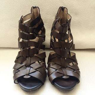 Brown Leather Roman Sandal Heels
