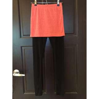 現貨⚡️窄裙連接絲襪褲-粉橘