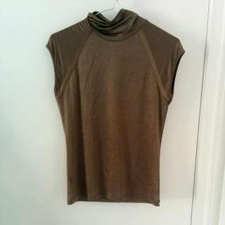MNG Silky Brown Turtle-neck
