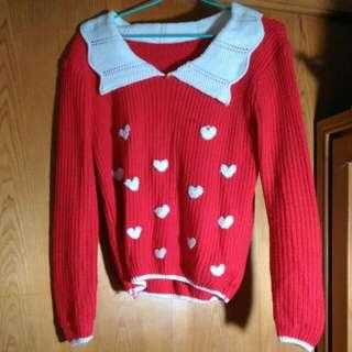 白領愛心斑點紅色毛衣