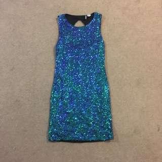 Blue/Green Sequin Dress