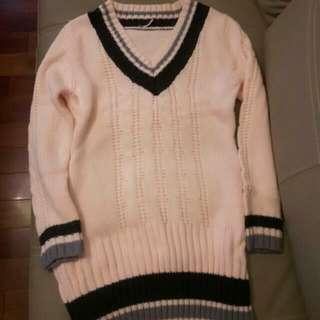 降價!粉色長版針織毛衣