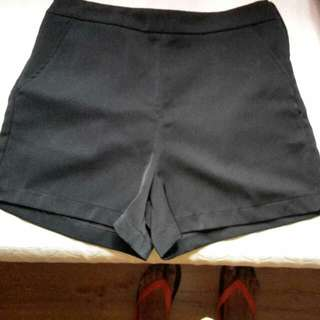 New Black Polyester Shorts With Pockets