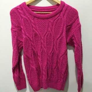桃色針織毛衣