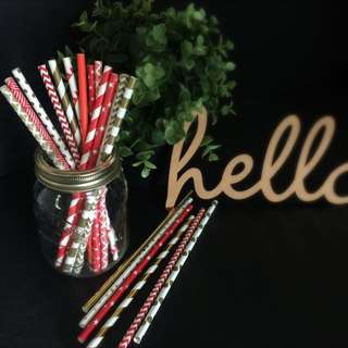 Party Paper Straws - Chinese New Year Theme in Red / Gold