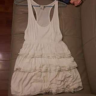 可愛白色無袖連身蛋糕裙