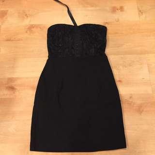 Black Lace Tube Corset Back Tie Dress