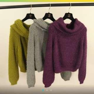 二手馬海毛寬版針織上衣 可兩穿一字領 紫色