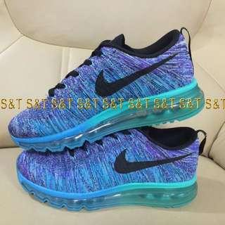 nike air max 波浪飛線新色 透明底 慢跑鞋 紫藍彩 男款40-44