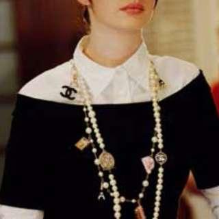 正韓 黑白 襯衫式 假兩件 連身裙 小香風 洋裝