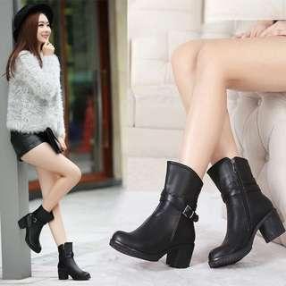 1207預購 真皮皮靴中筒粗跟中跟女鞋短靴34碼-40碼