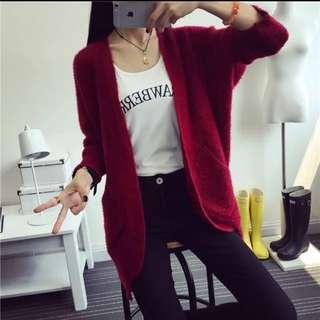 全新針織絨毛開襟外套 紅色