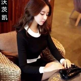 全新黑白針織洋裝