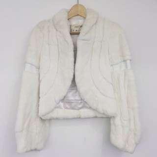 全白兔毛皮草短外套