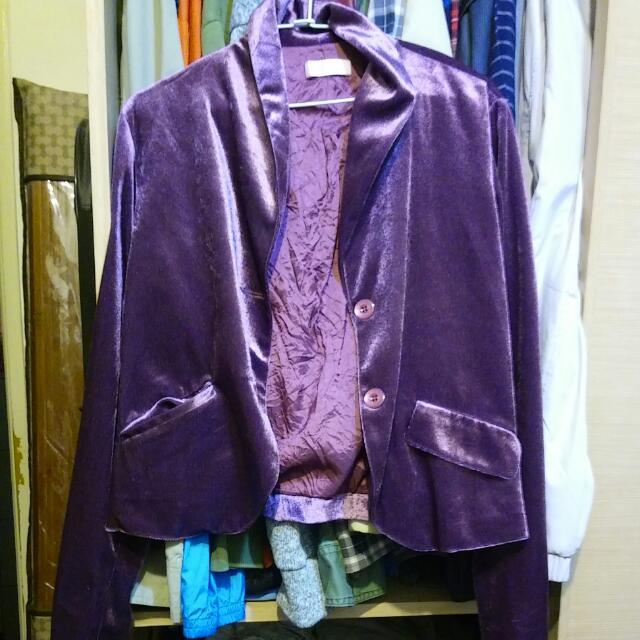 紫色絨小外套