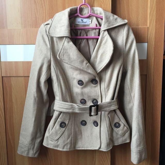 (含郵)排釦外套/米色