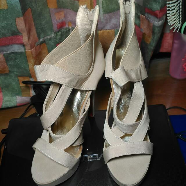 裸色交叉羅馬高跟鞋 大尺碼女鞋