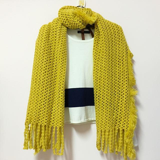 芥末黃流蘇圍巾