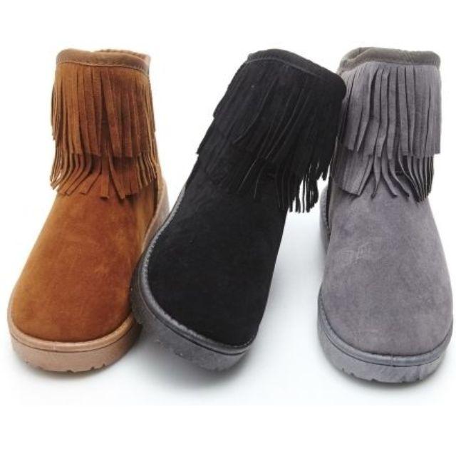 流蘇雪靴(灰)