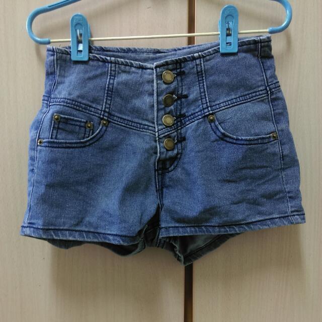 降☑高腰牛仔短褲
