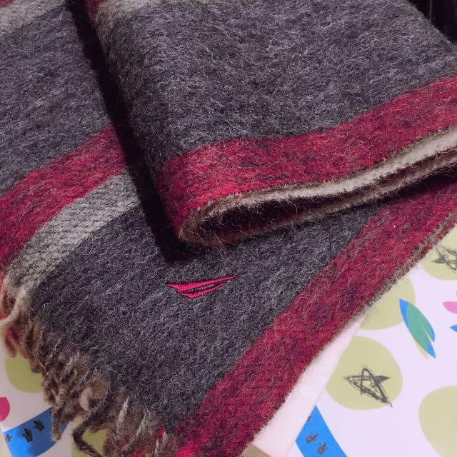 羊毛保暖圍巾 灰/紅