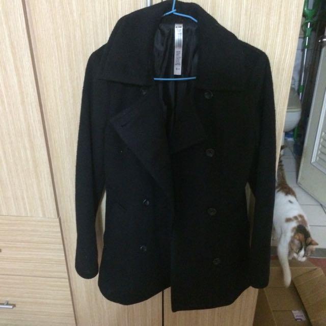 韓版 中長版 黑色修身大衣