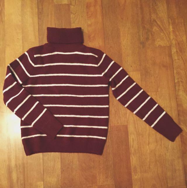 全新 棗紅 毛衣 高領 條紋