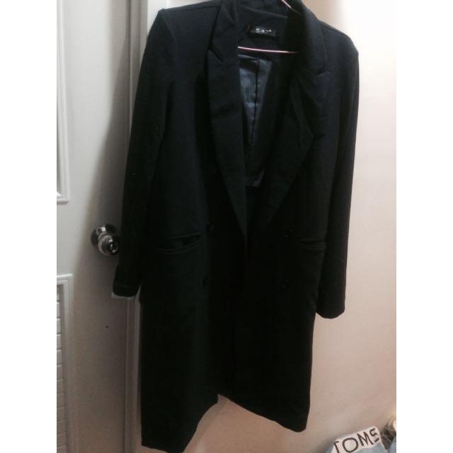 (全新含運)長版 西裝外套 大衣 深藍✨