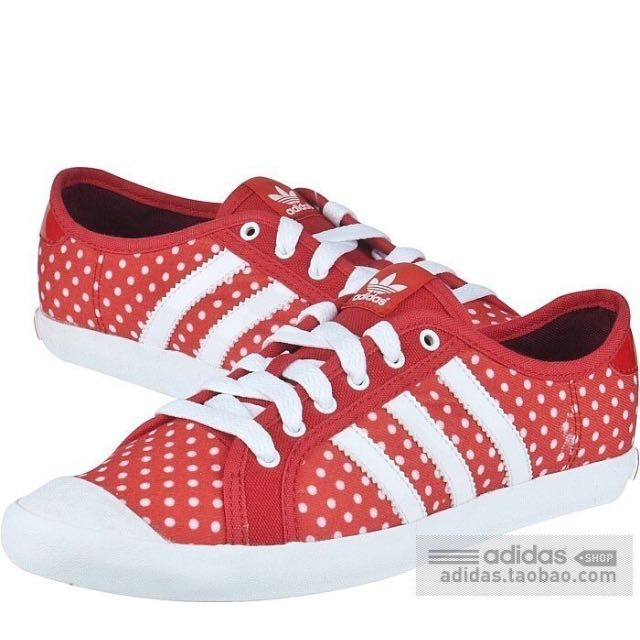 adidas復古超可愛點點紅色球鞋 38/23.5