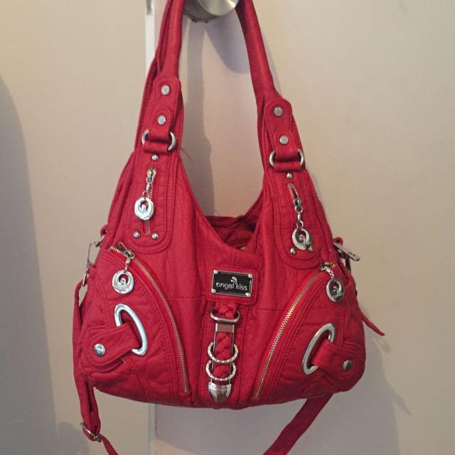 Angel Kiss Red Soft Leather Handbag