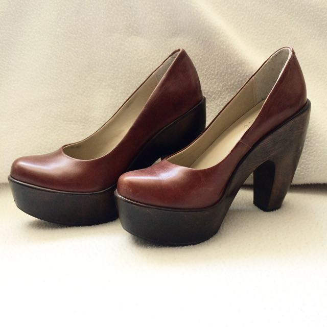 Brown Leather 70's Retro Platforms