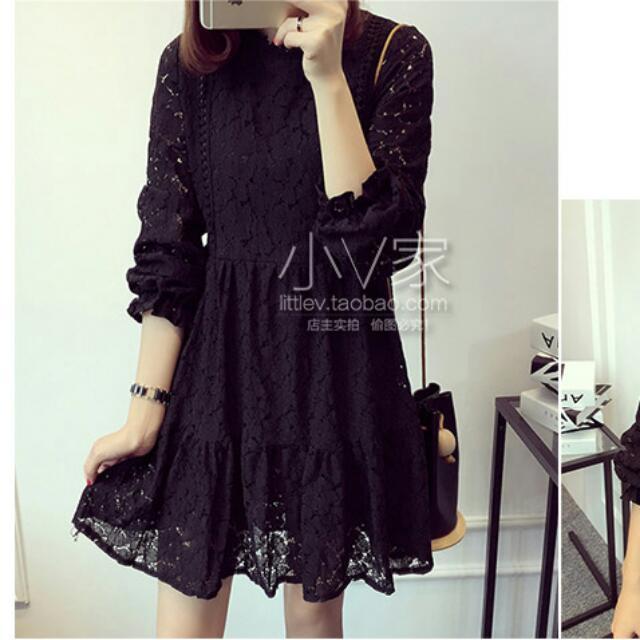 BS1060119 日韓版大碼蕾絲洋裝連衣裙(3色) C10357
