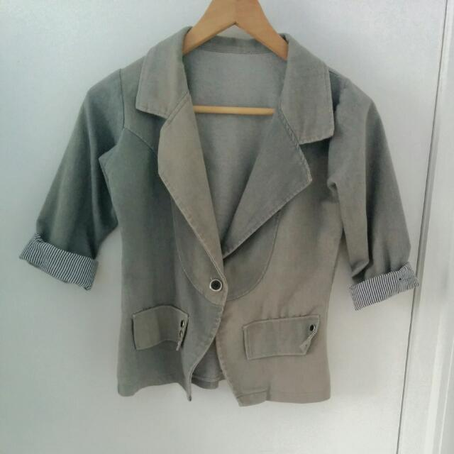 Grey Blazer With Striped Folded Sleeve
