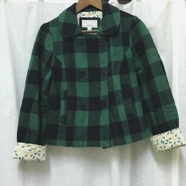 HERITAGE1981 綠黑格子短版排釦外套 🌍
