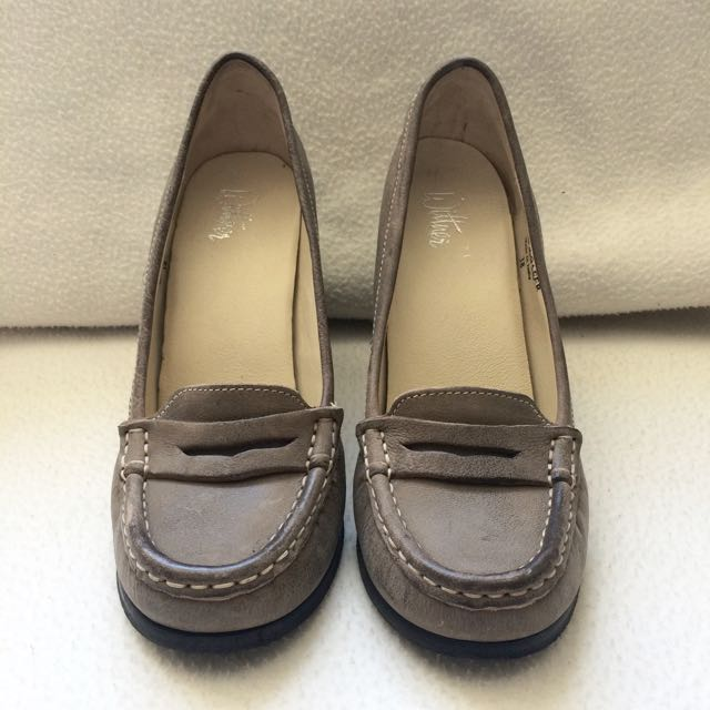 Khaki/Brown Leather Loafer Style Heels