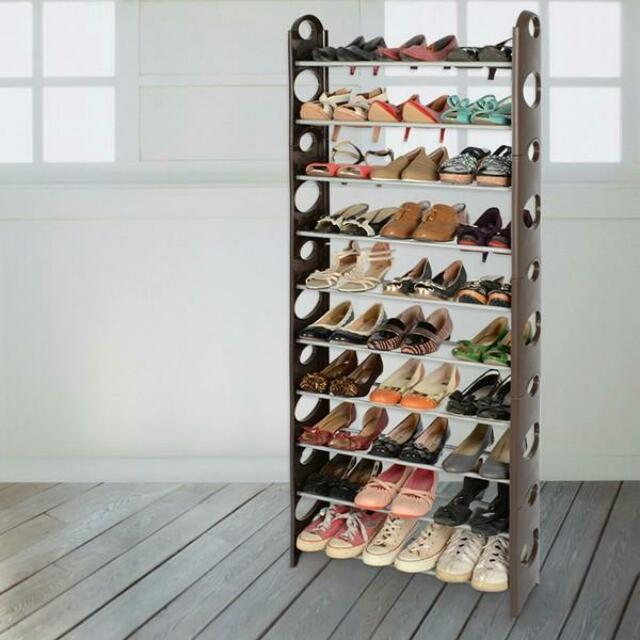 【LIFECODE】可調式十層鞋架/可放30雙鞋 (咖啡色)