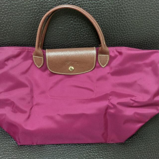 Longchamp 酒紅 M號包短把