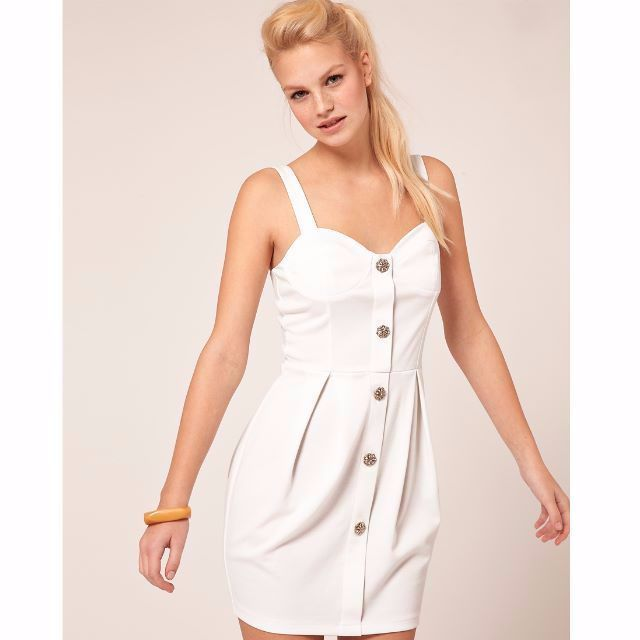 speical offer various design great fit Sell) ASOS Tulip Dress With Button Front - Cream / UK 8 $20 mailed ...