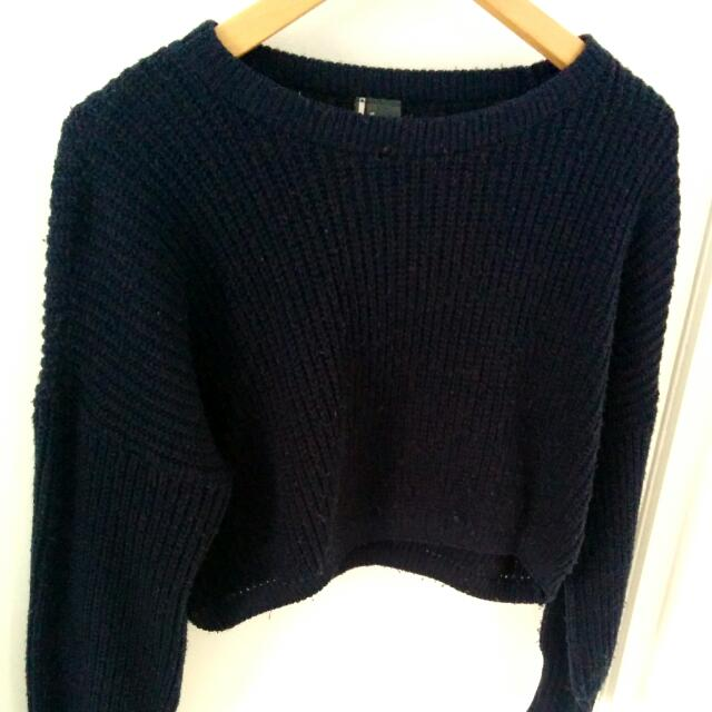 Sparkle & Fade Cropped Navy Knitted Jumper