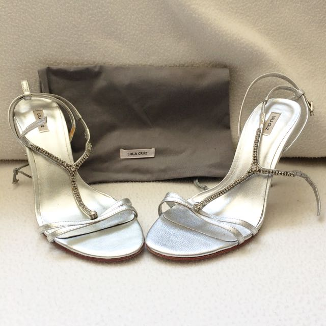 Strappy Silver Leather & Diamanté Heels