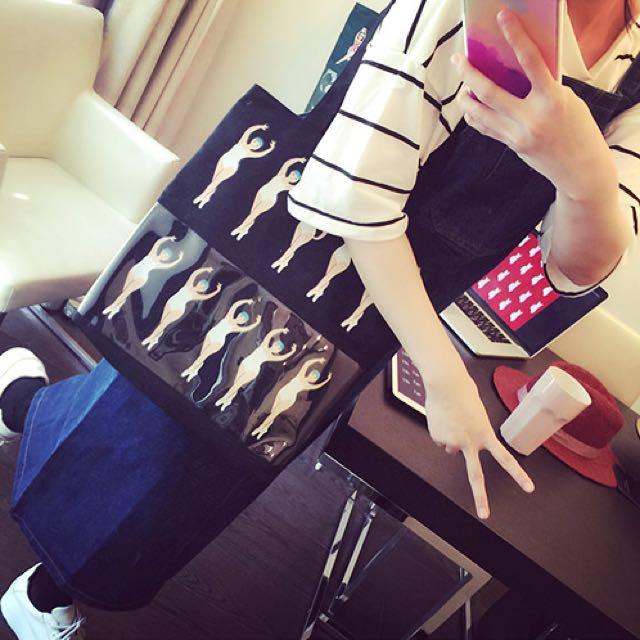 韩国ulzzang童趣单肩手提包pvc透明帆布包印花购物袋复古文艺女包