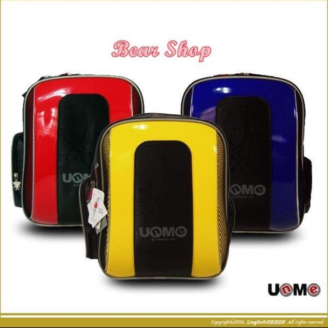 UNME 3203 防水亮面漆皮輕量護脊鏡面學生書包 後背包