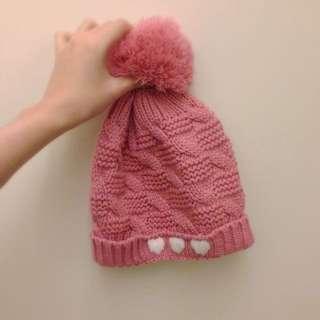 降價✨三個心心粉紅球球毛帽💕