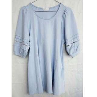 【PAZZO】全新 宮廷簍空蕾絲五分袖厚棉洋裝(天空藍S) 含運