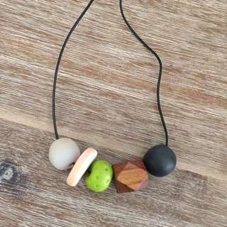 Custom Made Clay And Wood Bead Necklace