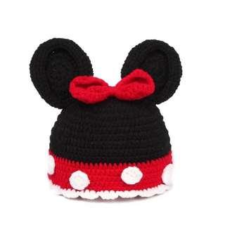 特價出清~手工 迪士尼 米妮 針織 嬰兒帽 (嬰兒寫真拍照適合~)